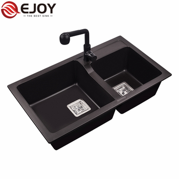 EJOY High Quality black sink kitchen Customized handmade kitchen sink double bowl YJ850S