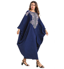 Muslim Loose O-Neck Abaya Casual Embroidery Free Size Islamic Elegant Batwing Sleeve Robe Dress For Women