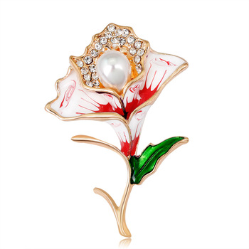 Fashionable Gold Enamel Bridal Flower Brooch Vintage Bouquet Women Jewelry Pearl Rhinestone Brooch