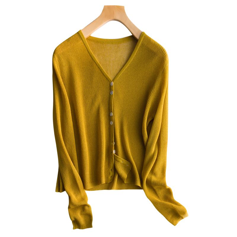 Phụ Nữ Chiếc Áo Len Áo Khoác 100% Linen Hàng Dệt Kim Nữ V-Cổ 4 Màu Sắc Dài Tay Áo Outwear Áo Len