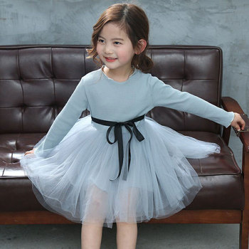 Solid color kids clothes girl dress cute birthday party stylish lace tulle baby girl princess dress