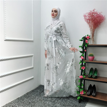 Fashion islamic floral shinning sequins luxury full length EID muslim women dress long abaya dubai
