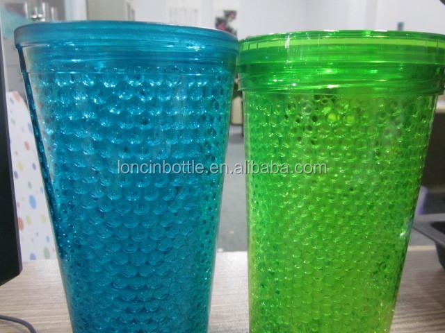 Drinkware Plastic Cups Freezer Gel Insulated Tumbler 10oz