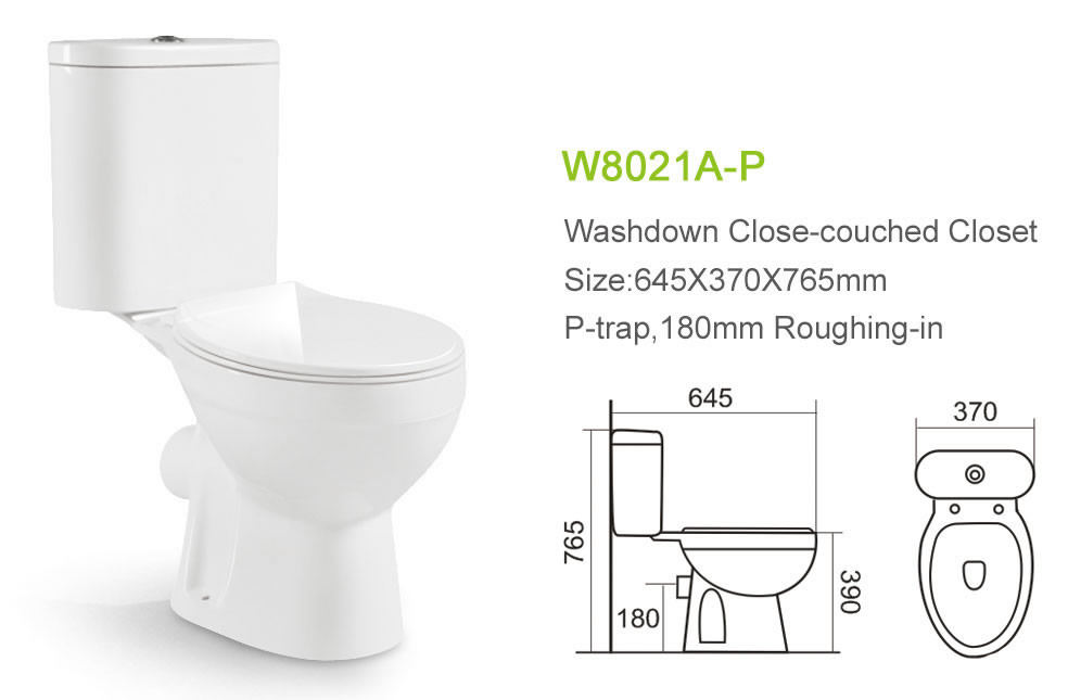 Apartment P Trap Two Piece Toilet European Washdown