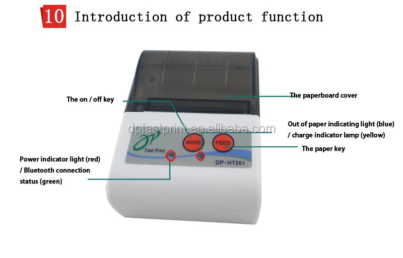 Android and IOS mini portable bluetooth thermal printer