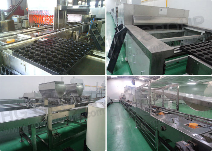 Hot Air Tunnel Oven Custard Cake Making Line