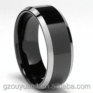 New Silver Beveled Black Tungsten Ring, Tungsten Carbide Ring, Mens Tungsten Carbide Ring