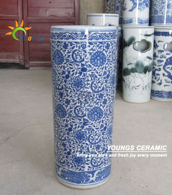 Varied Chinese Blue And White Ceramic Cylinder Umbrella