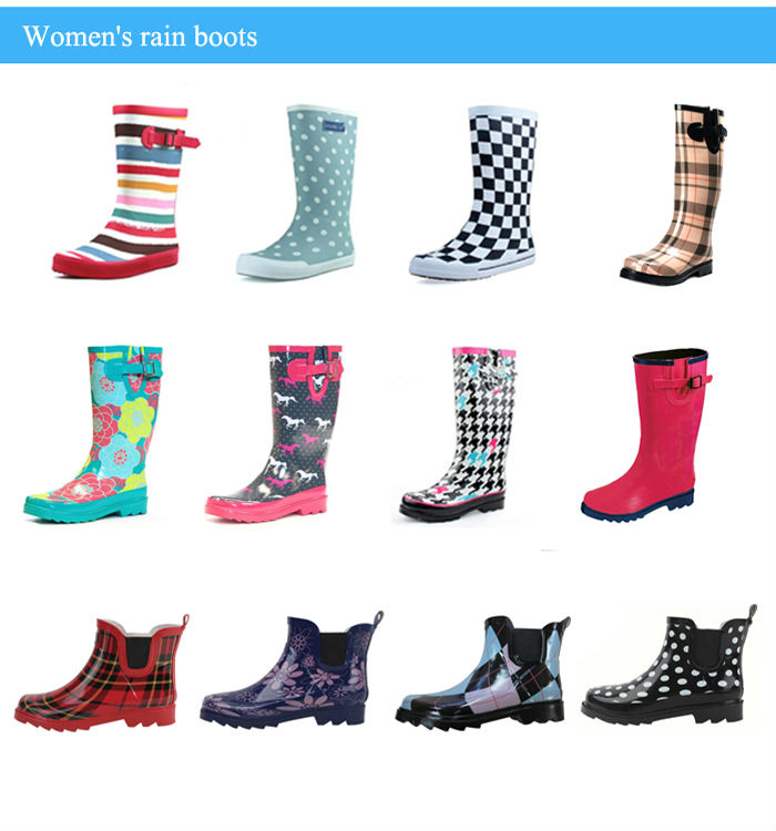 China factory low price pull-on handles natural rubber custom printed cute pink girls cheap rain boot for children