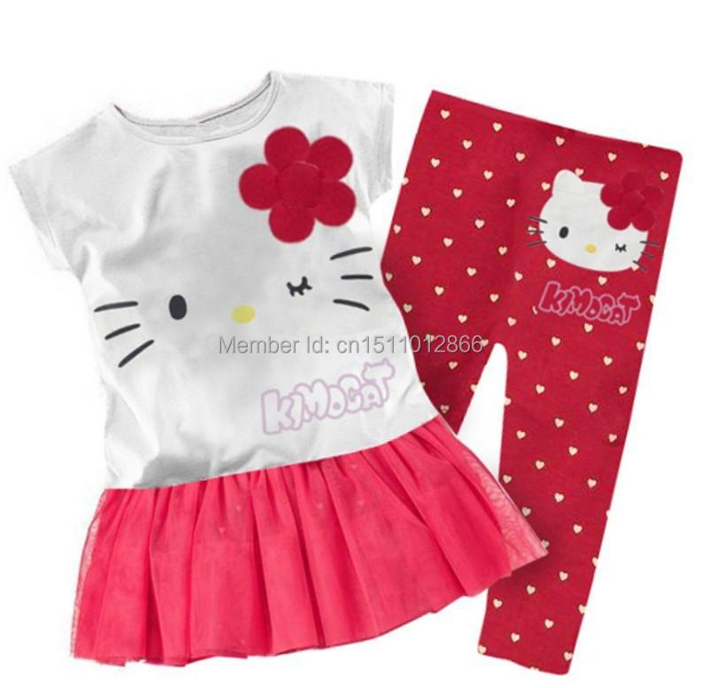 80b4f79ef 2019 Wholesale Retail 2017 Children Girls Clothing Set Summer Hello ...