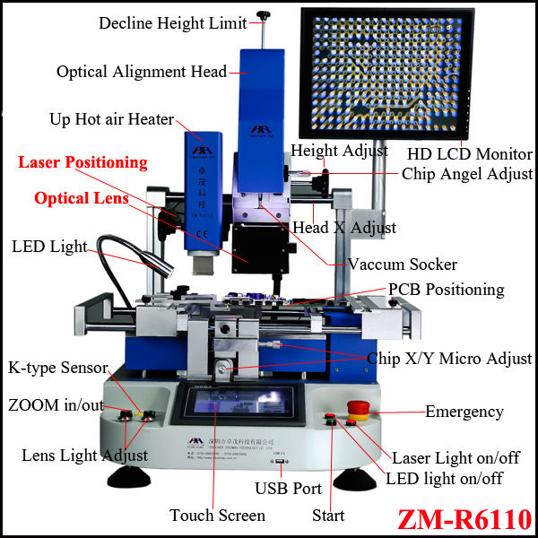 Zhuomao mobile IC repairing tools ZM-R6110 optical bga rework station for Iphone 5S,htc,samsung s4 motherboard