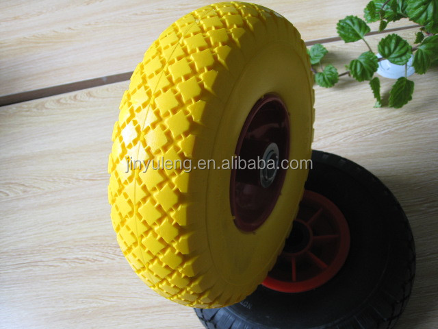 10 inches small 10*3.00-4 pu foam solid rubber wheel , for Trailer, castor, garden tools
