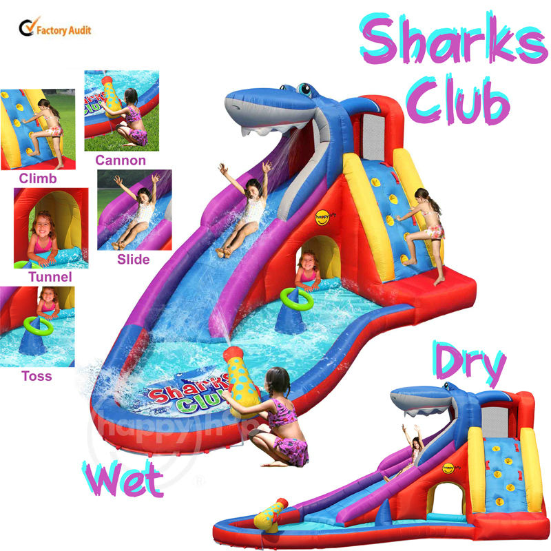 Happy Hop Sharks Club-9417, inflatable combo bouncer,wet dry water park slide with cannon,inflatable water slides for sale