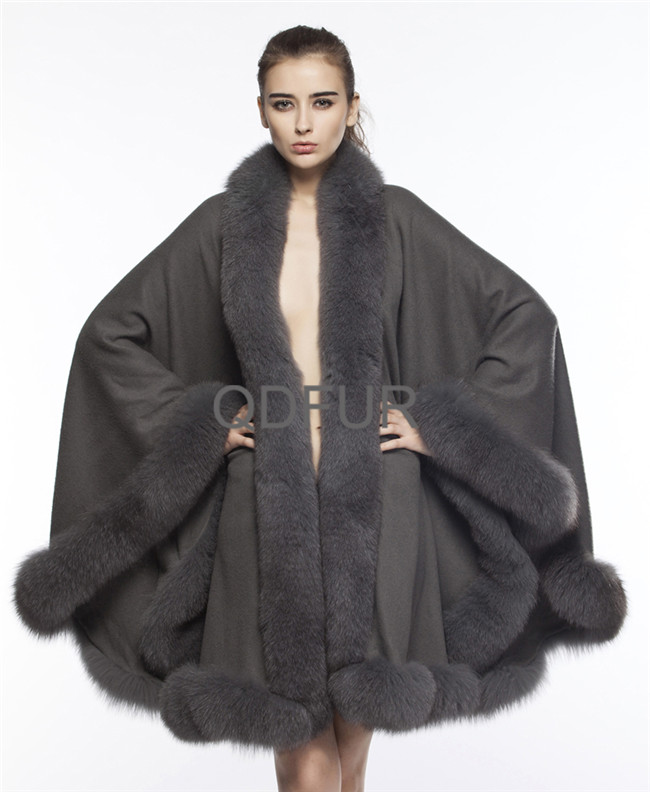 QD70114-1 2016 Good Selling Fashion Cashmere Cape And Fox Fur Trim Shawl For Woman Poncho