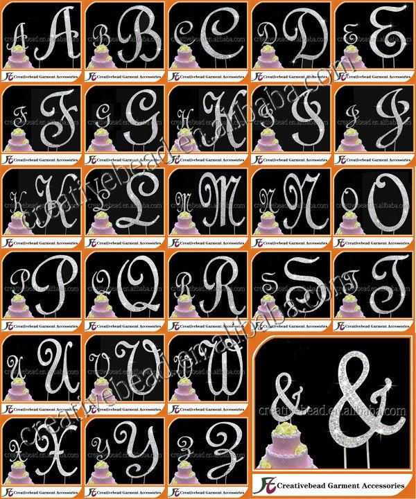 Crystal Rhinestone Covered GOLD Monogram Wedding Cake Topper Letter Initial