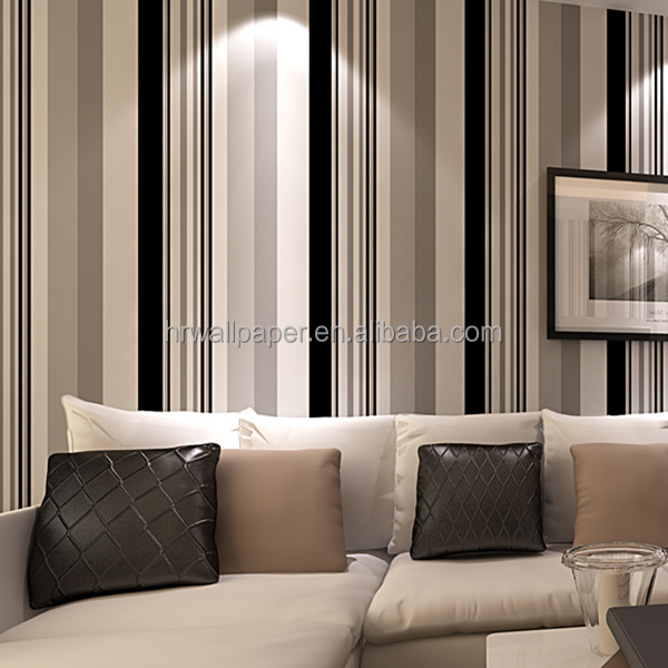 Rayas verticales en blanco y negro papel pintado de vinilo - Papel de vinilo para banos ...