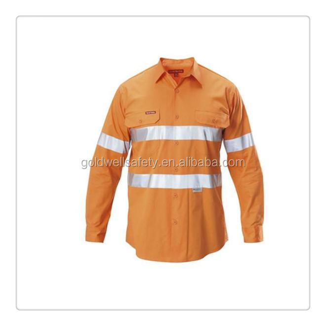 Hi vis cotton drill work shirt industrial work wear for Hi vis t shirts cotton