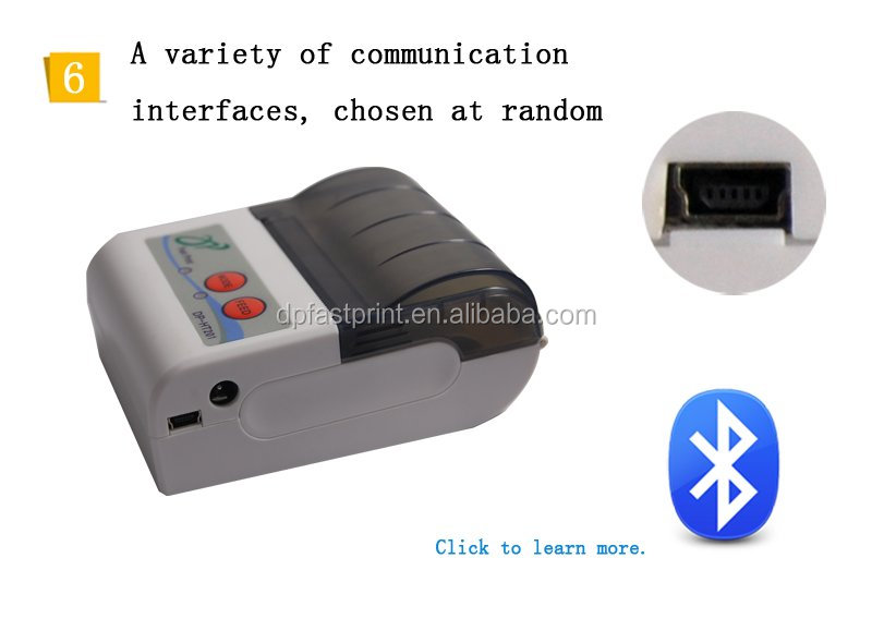 CE Certificate with Li-ion Battery, Power supply Receipt ticket android and iOS mobile bluetooth portable printer