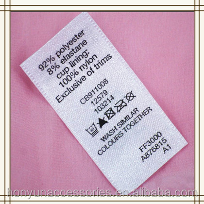 Custom Swimwear Printed Satin Cloth Care Label - Buy Swimwear Care ...