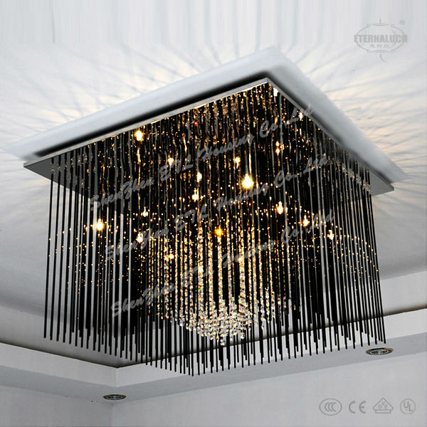 Wholesale big modern square crystal ceiling lamps for saloon room ETL60185