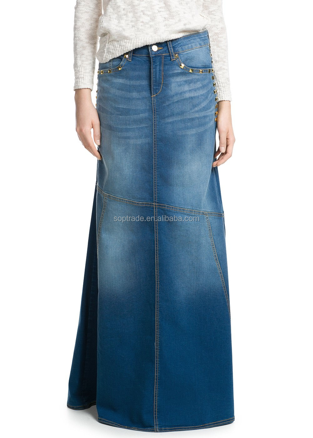 Plus size wholesale long denim skirts maxi for ladies