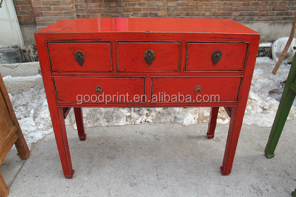 Vintage oriental meubles console rouge table buy product for Meuble oriental