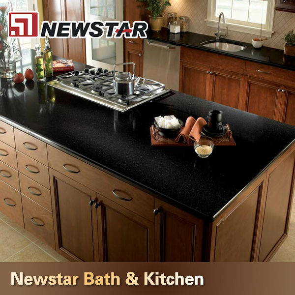 Apartment Kitchen Cabinets Bullnose Black Galaxy Quartz