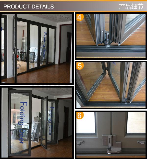 Double Glazing Lowes Bi Fold Door Accordion Aluminum Glass Patio Exterior Bif