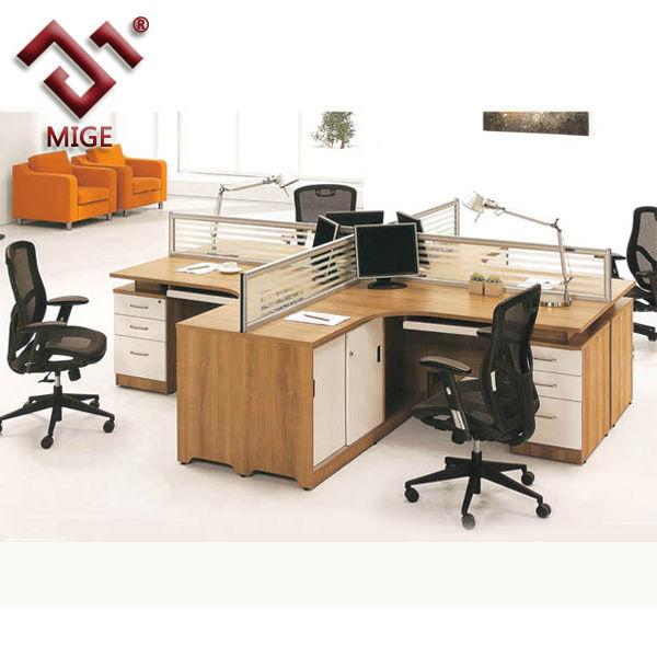 T Shaped Steel Legs Wooden Workstation In Office Desk