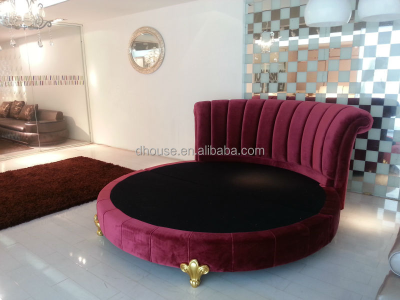 Hotel Bedroom Furniture Classic Fabric Round Bed 021, View ...