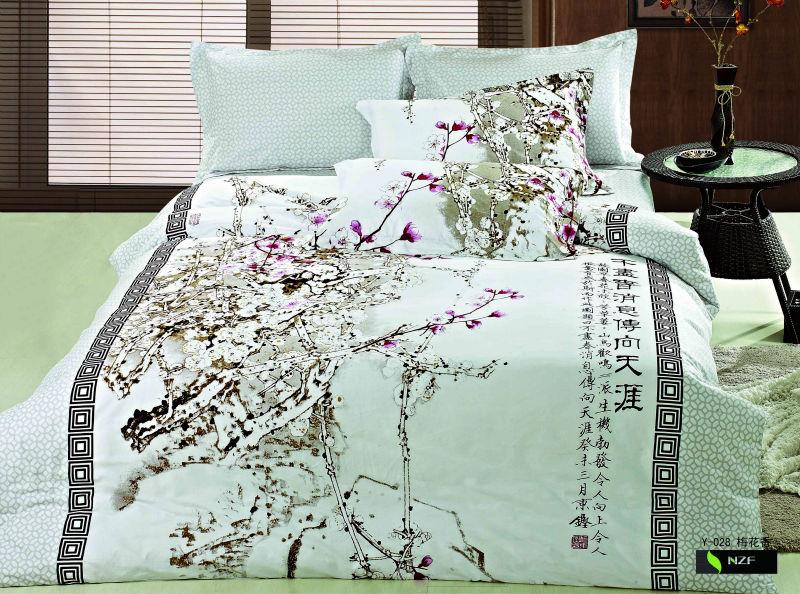 magnifique et l gante de style chinois imprim housse de couette style oriental encre imprim. Black Bedroom Furniture Sets. Home Design Ideas