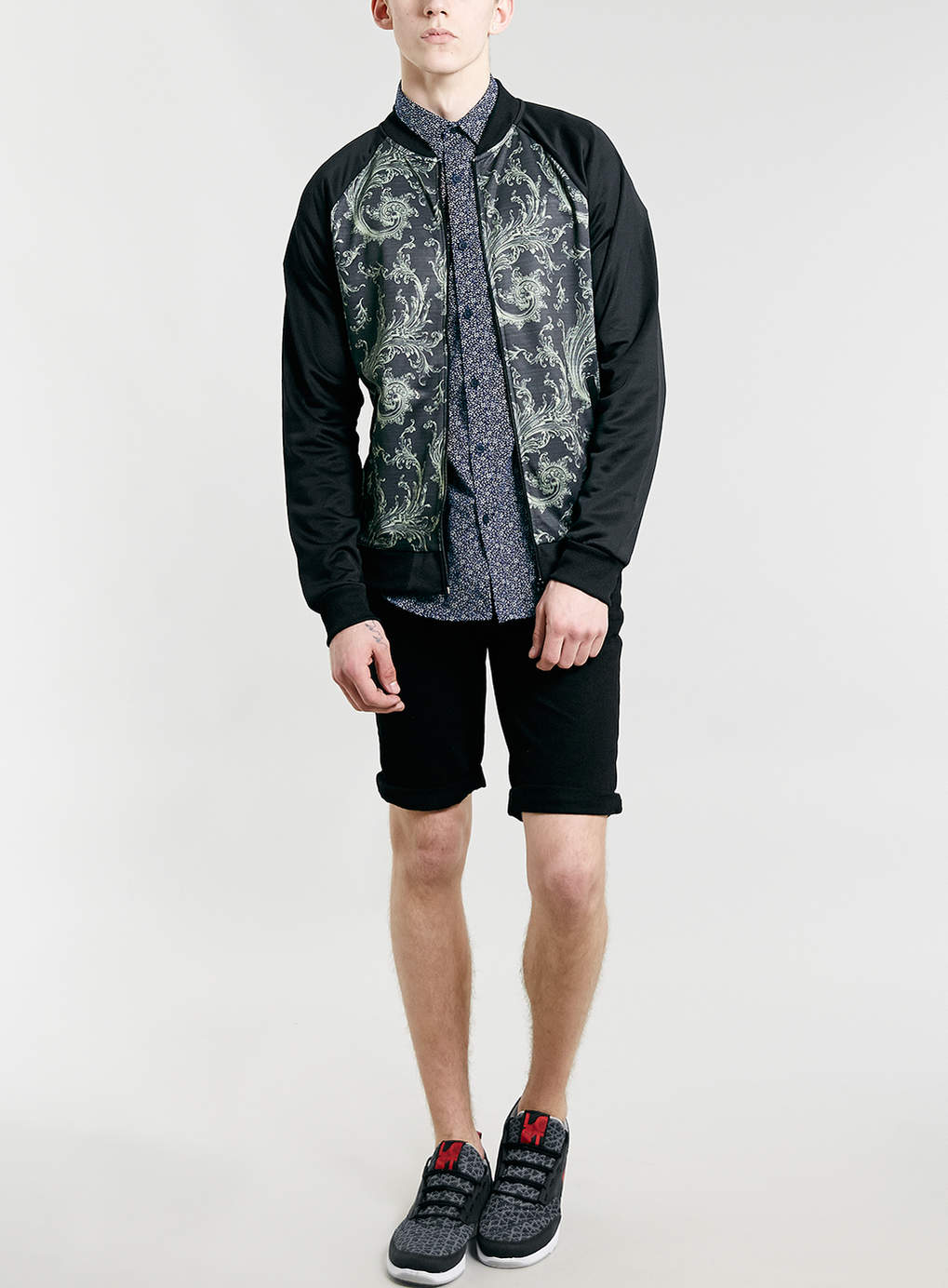 Mens Custom Black Sporty Fabric Paisley Print Bomber Baseball ...