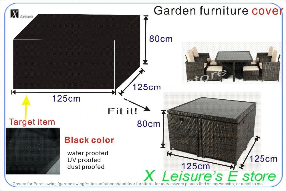 Ensemble de meubles en rotin de jardin, 125x125x80 cm housse ...