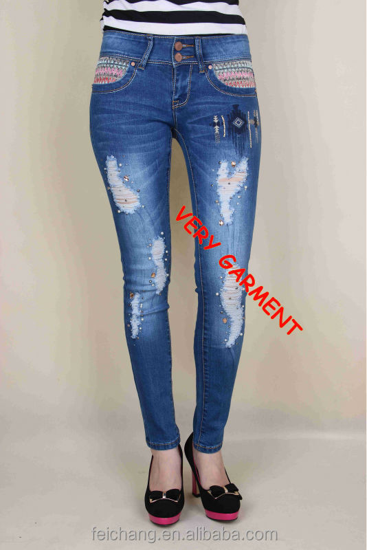 Ladies Jeans Top Design Beaded Skinny Latest Jeans Tops Girls ...