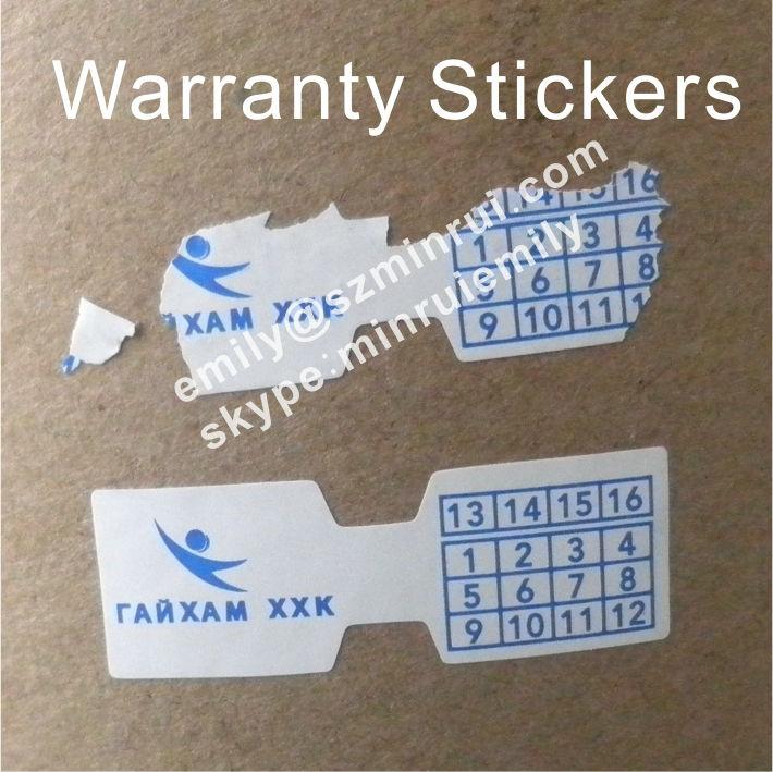 Custom Paper Warranty Stickers With Customized Company