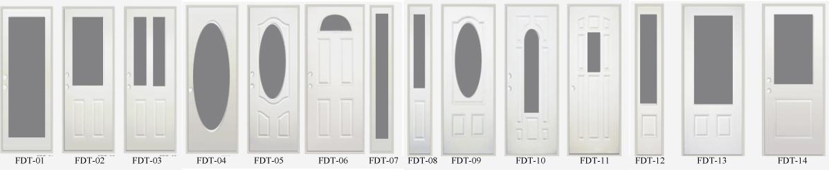 Fangda 32 In Fan Lite Decorative Steel Glass Exterior Door Slab