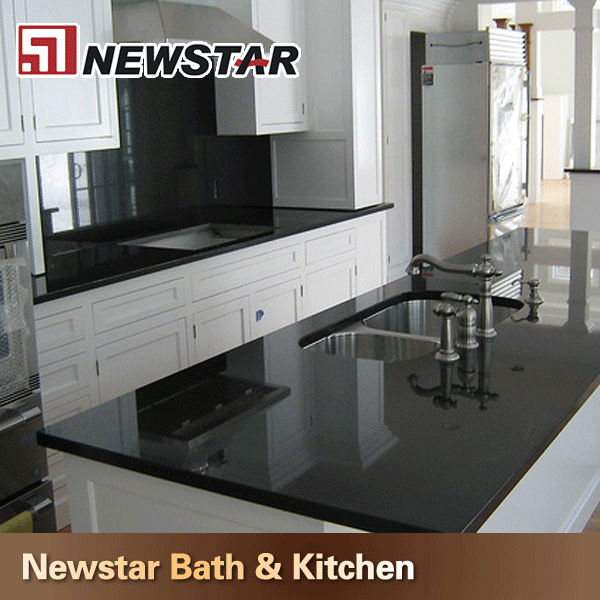 Newstar Cheap Black Marble Veneer Countertops Kitchen Vanity Top