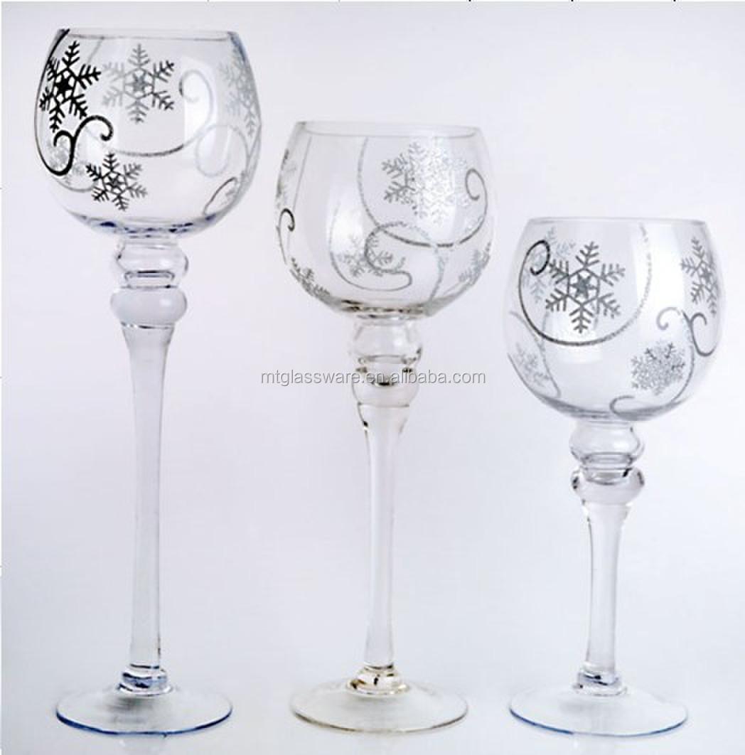 Set 3 christmas hand drawing tall glass candle holders