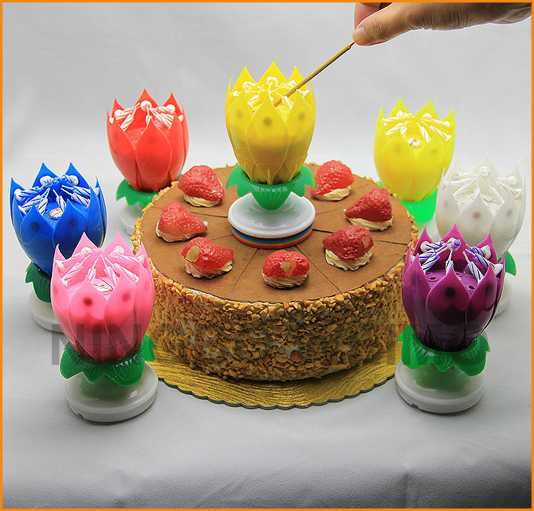 Happy Birthday Flower Lotus Musical Spinning Candle