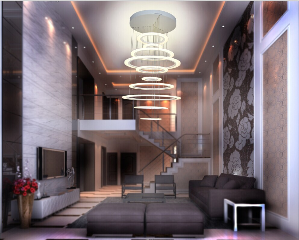 high quality circle shape led large size chandelier hotel lobby