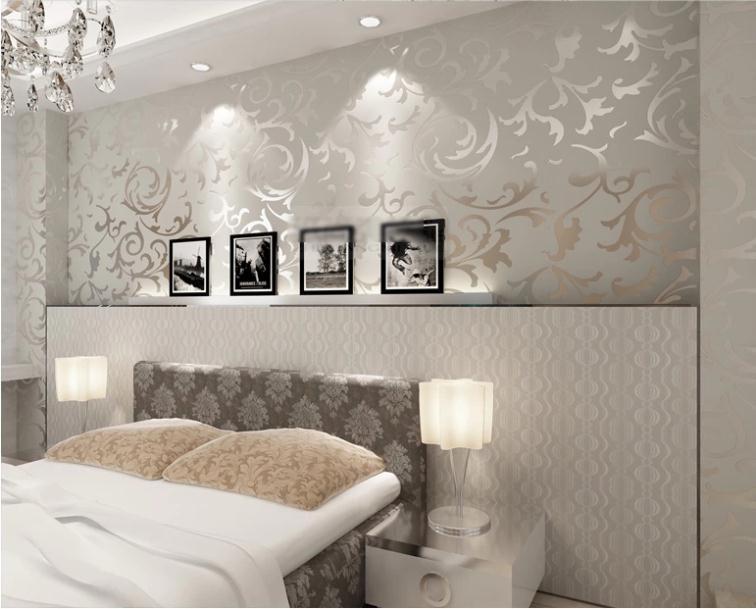 modern victorian flocking velvet textured damask wallpaper roll silver gold ebay. Black Bedroom Furniture Sets. Home Design Ideas