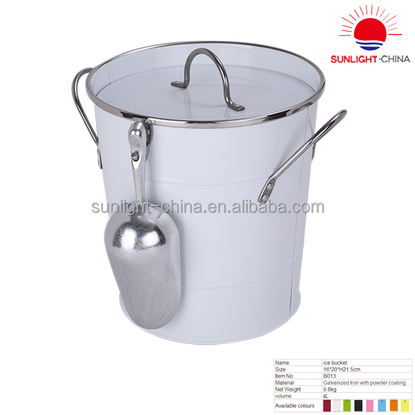 Bsci 2018 Hot Sale Metal Ice Bucket With Lid And Scoop Galvanized Steel Compost
