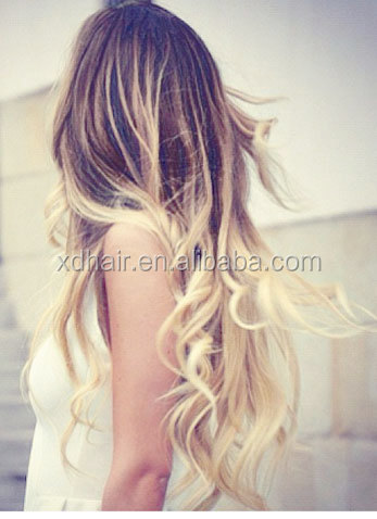 Brown to blonde ombre dip dyed human hairfull set clip in brown to blonde ombre dip dyed human hair full set clip in extensions hippie pmusecretfo Image collections