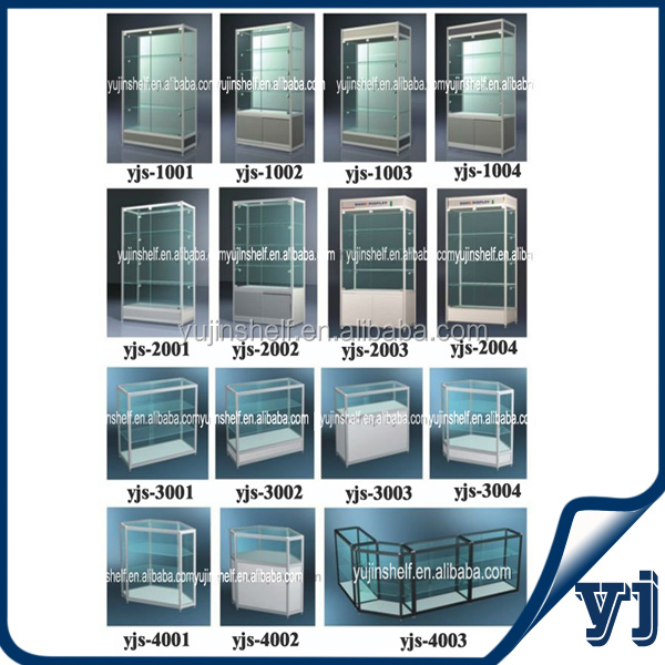 Cheap Silver Titanium Alloy Glass Top Display Case With Big ...