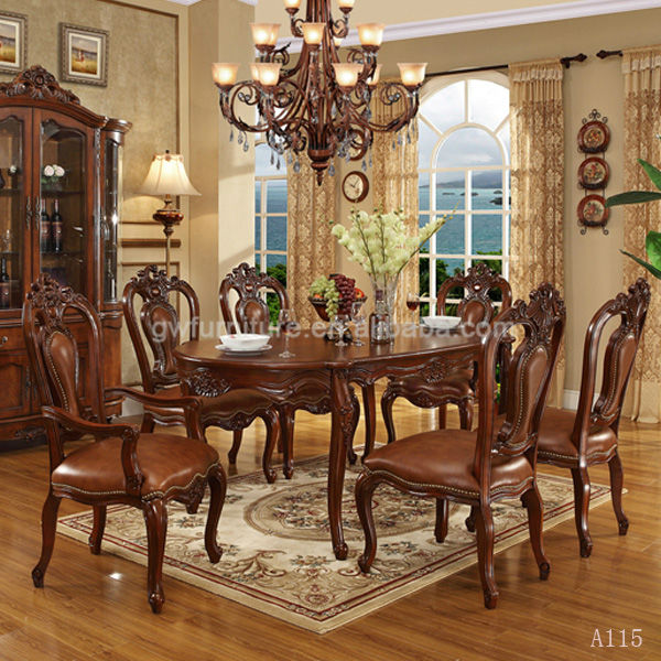 Antique Dining Room Table Chairs: Antique Wooden Inlay Dining Room Furniture