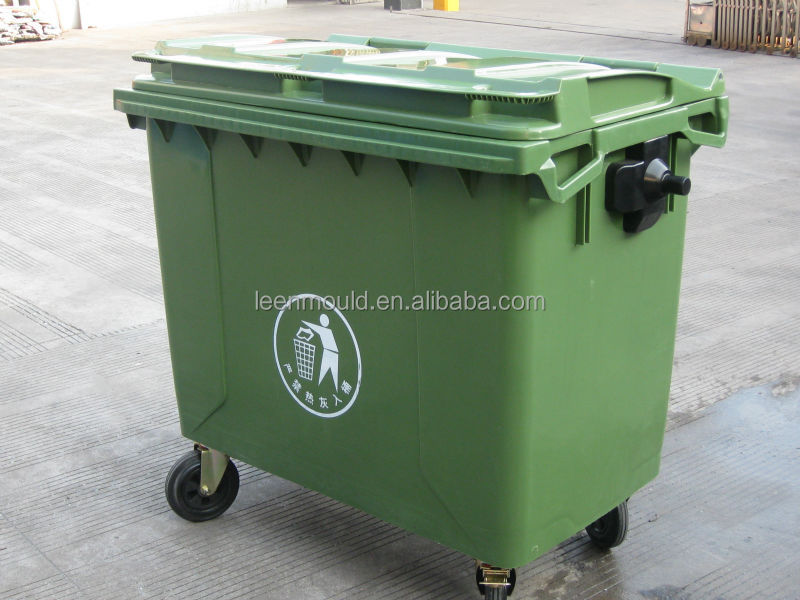 Taizhou Plastic New Outdoor Mobile Large Plastic Garbage Bin With Wheels,1100L  Dustbin