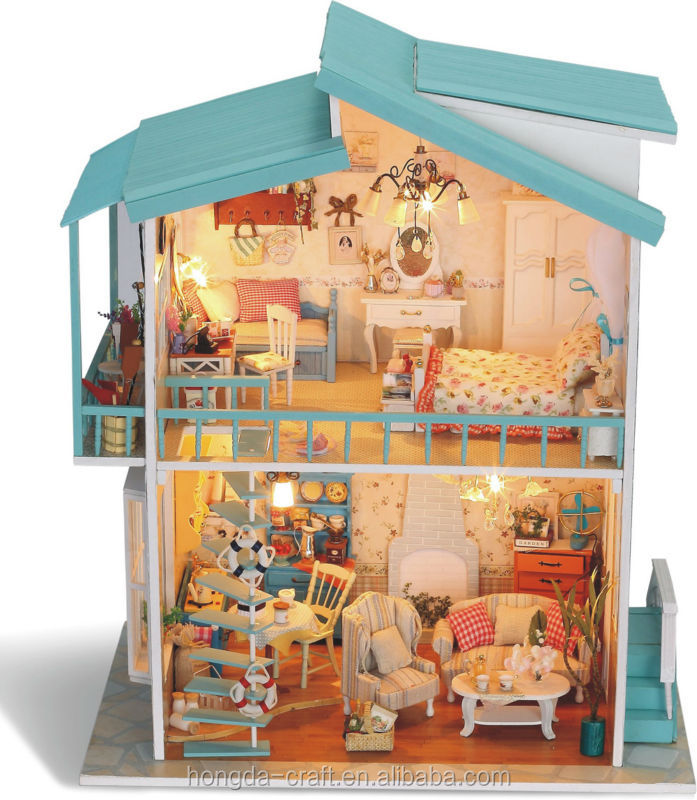 Wholesale Diy Mini Wooden Doll Houses With Light And Furniture For Kids Buy Toy House Product