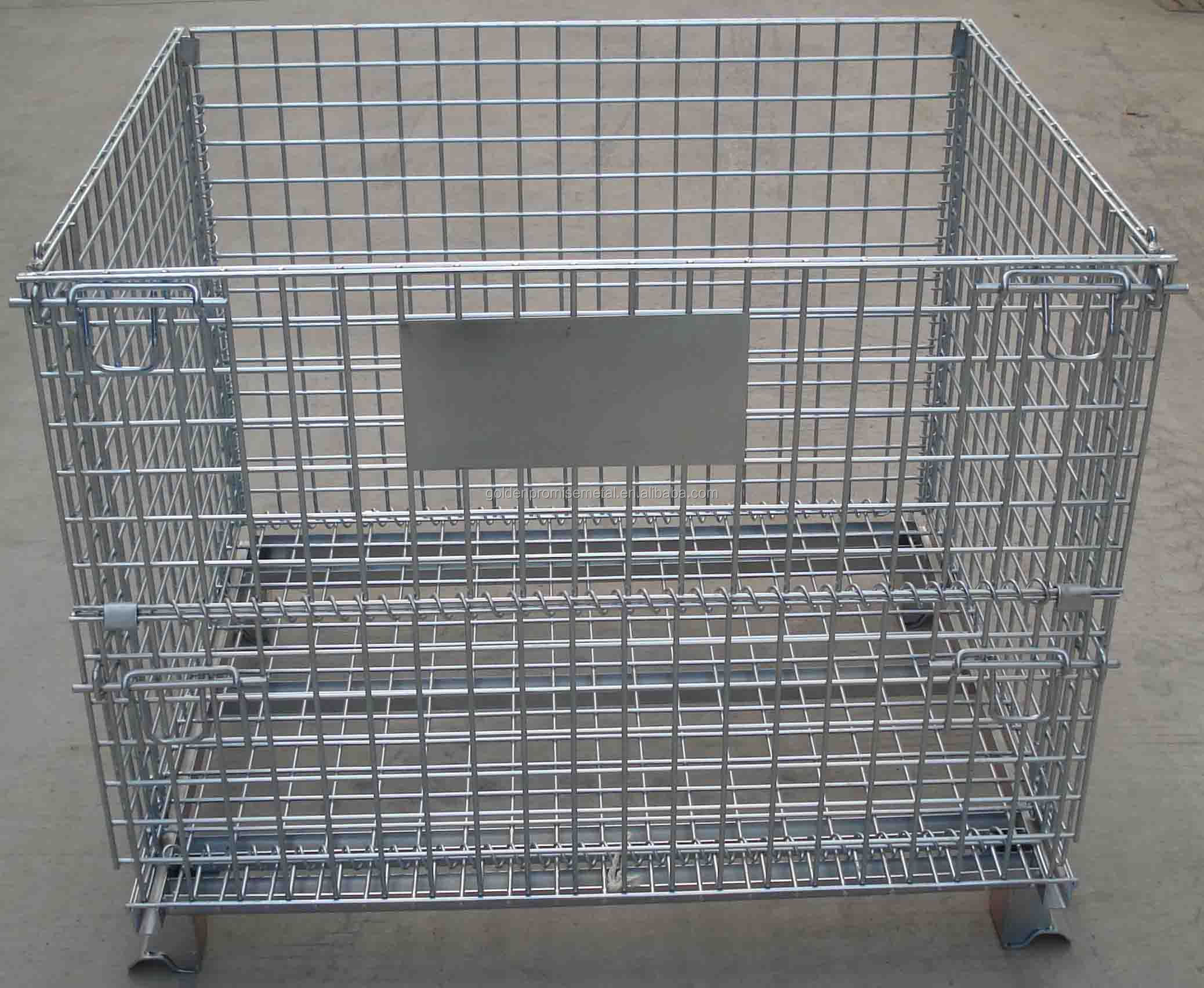 Awesome Folding Wire Mesh Cage Storage Steel Crate,Foldable Steel Cage