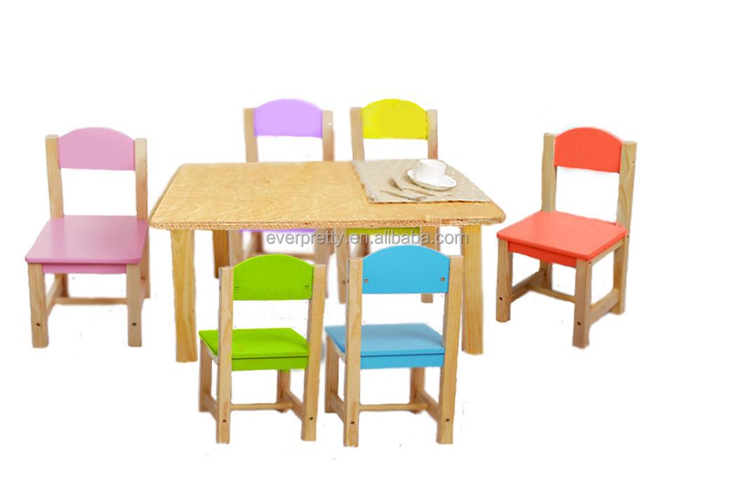 mini houten tafel en stoel massief hout kinderen tafel en