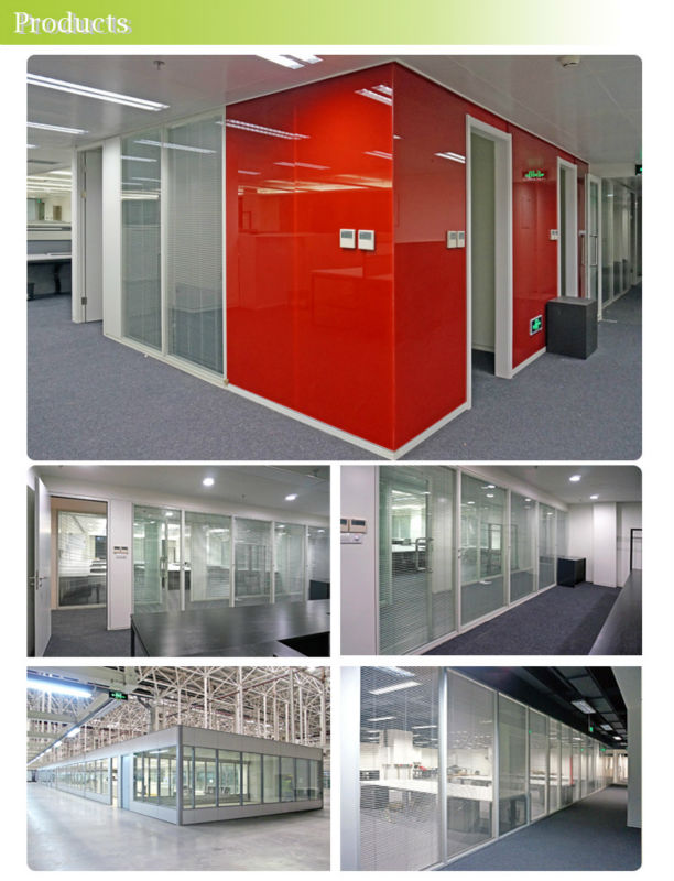 Steel Modular System Office Partition Full Height Double Glass